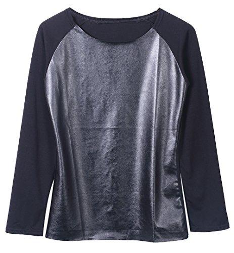 Damen Langarm Rüsche Cowl Neck Pullover Jumper Kleider Oberbekleidung (L(EU 38), Gray)