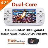 CZT Dual-core de 4,3 pulgadas Consola de juegos portátil de 16GB y 64 bits Construida en 3000 juegos no repetidos para NEOGEO/CPS/GBA/GBC/GB/SFC/FC/MD/GG/SMS MP3 cámara
