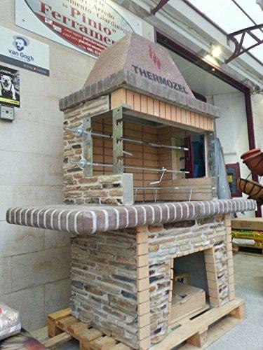 Barbecue in pietra in muratura grande con forno per fuoco a legna e carbone misure 185x82xh210 cm - Caminetto per esterno ...