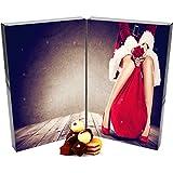 Hallingers 24 Pralinen-Adventskalender, mit/ohne Alkohol (300g) - Mrs. Santa (Buch-Karton) - zu Weihnachten Adventskalender