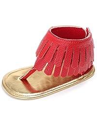 Mädchen Streifen Leder Baby Schuhe mit Klettverschluss 3mm gepolsterte Sohle WVJcUZcEig