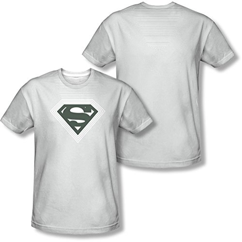Superman - - Männer Optical Streifen-T-Shirt White
