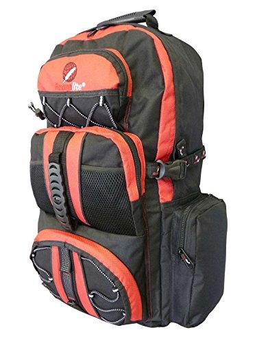 Roamlite zaino da campeggio grande unisex- 50 a 55 litri leggero, perfetto come bagaglio a mano. perfetto per escursionismo, viaggio e vacanze. dotato di varie tasche e scomparti.colore nero rosso