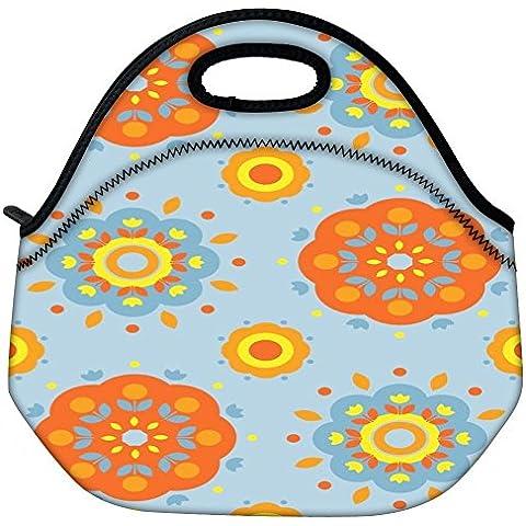 Patrón Snoogg Flor 2527 Viaje al aire libre lleva el bolso de mano de la comida campestre Almuerzo envase de la caja postal Fuera extraíble Carry Handle Bag Lunchbox Tote Bag Lunch Comida Para Oficina de Trabajo de la