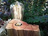 Lámpara De Madera de Castaño con Bombilla Decorativas de Filamento LED-Lámpara Edison-Estilo Vintage- Retro- Industrial-Boho.