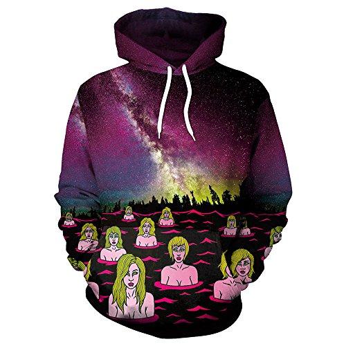 TUDUZ Halloween Kostüm Unisex Kapuzenpullover Pullover Hoodie Sweatshirt Pullover Tops Kapuzenpulli fur Herren Damen (Gruseligsten Die Kostüme)