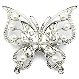 Elixir77UK Silver Colour Butterfly Wedding Gift Brooch With Plain Crystals and Faux Pearls UK SELLER