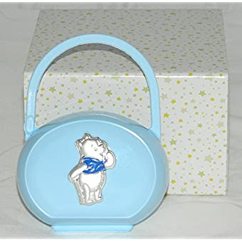 Porte sucette/Sucette Bleu clair avec Winnie the Pooh en argent