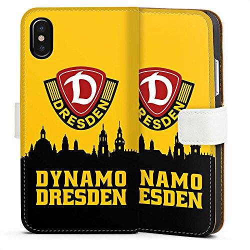 Apple iPhone 7 Hülle Premium Case Cover SG Dynamo Dresden Fanartikel Bundesliga Sideflip Tasche weiß