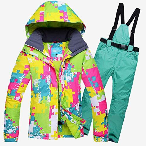 ZXGJHXF Weibliche Skifahren oder Snowboarden Anzug Jacke und Hose im Freien Wasserdichte Winddichte Klage Winter Thermo Mantel und Hose,color1,S | 06914421972898