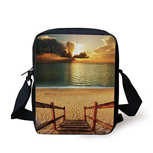 LULABE Beach,Dramatic Beach Scenery with Majestic Rain Cloud Horizon Heaven Paradise Theme,Cream Blue Orange Print Kids Crossbody Messenger Bag Purse (Womens Rain Insulated)