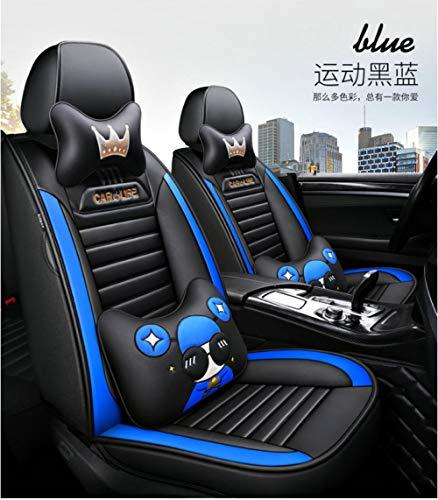 QCFXPT Coprisedili per Auto in Pelle 5 posti Set Completo Universale,Airbag compatibili Anteriori Posteriori Pelle Traspirante Alta qualità Comodo Seduta Morbido indossabile Nero Blu