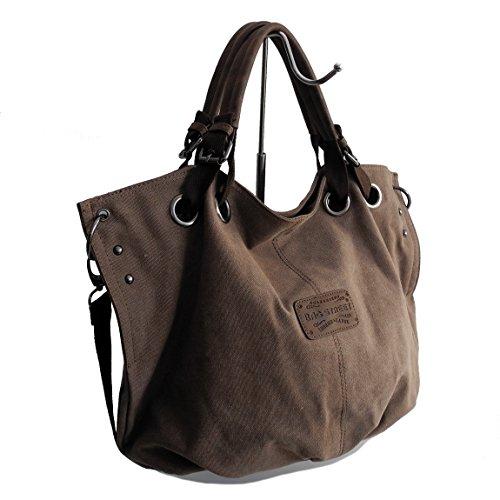 Lässige Canvas Tasche von Bag Street , Damentasche Shopper Umhängetasche Vintage Handtasche Schultertasche - Baumwollstoff Segelstoff ( BRAUN ) - präsentiert von ZMOKA®