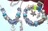 Schmuckset Armband und Halskette mit Charms Beads Stopper aus diversen Materialien...Glas ..Strassteinchen .facettiertes Kristall Tibetsilber Antiksilber und Geschenkbox