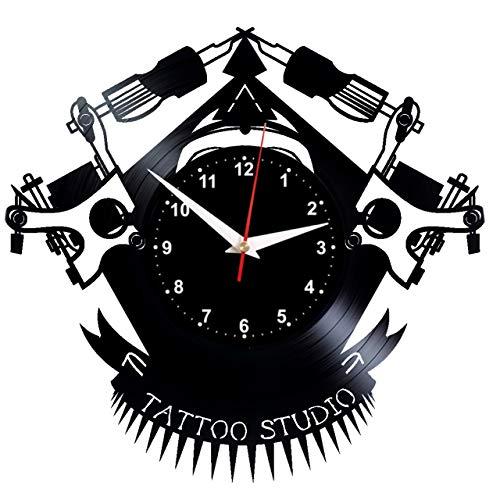 EVEVO Tattoo Studio Wanduhr Vinyl Schallplatte Retro-Uhr Handgefertigt Vintage-Geschenk Style Raum Home Dekorationen Tolles Geschenk Wanduhr Tattoo Studio (Studio Dekoration)