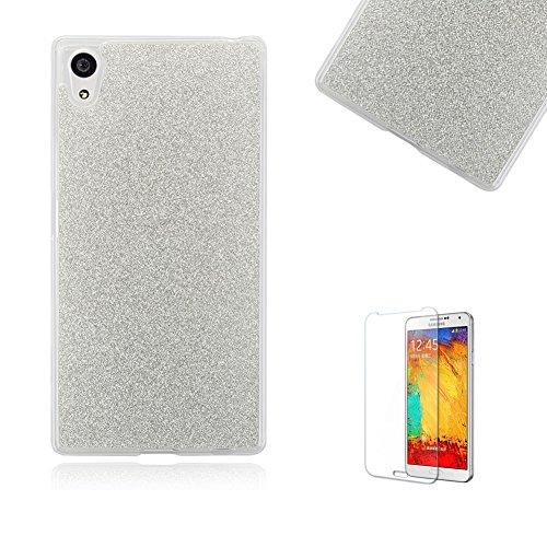 cover-silicone-sony-xperia-z5-compact-custodiafunyye-glitter-brillare-argento-puro-stile-disegno-con