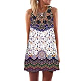 SEWORLD 2018 Damen Sommer Mode Frauen Vintage Boho Frauen Sommer Ärmellosen O-Ausschnitt Strand Gedruckt Kurze Minikleid(A-a-Violett,EU-42/CN-L)