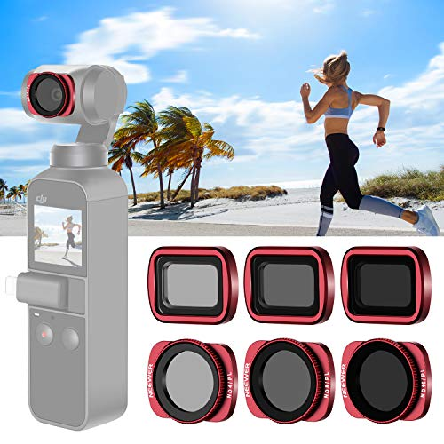 Neewer Magnetfilter Set für das Objektiv der DJI Osmo Taschen Kamera,inklusive mehrfach beschichteter ND8 ND16/PL ND16/PL Filter mit Tragebox für Außenaufnahmen (rot)