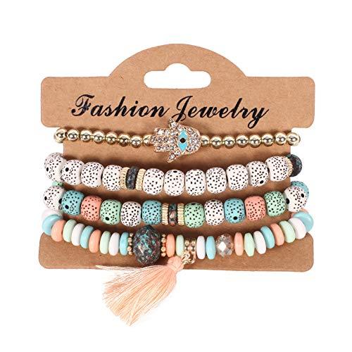 Ogquaton Calidad Premium Vintage étnico de múltiples capas perlas grandes pulseras Boho declaración brazaletes de flores pulseras para mujeres joyería, colorido