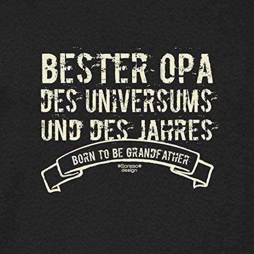 Herren Langarm-Fun-T-Shirt Sweatshirt Pullover Aufdruck Motiv: Bester Opa des Universums Geschenk Idee mit Spass-Urkunde Farbe: schwarz Schwarz