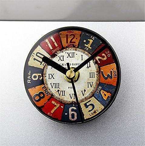RFVBNM Retro Nostalgische europäischen Stil Eisen Malerei Kreative Kühlschrank Bell-Stil Kühlschrank Aufkleber Magnetische Aufkleber sticky Aufkleber hängende Uhr Nachricht Aufkleber 8,5 * (8,5 Aufkleber)