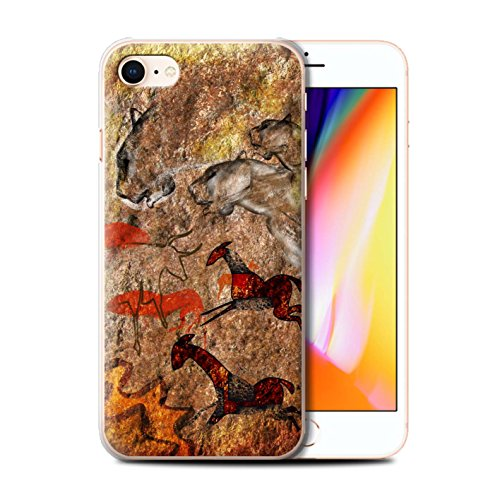 Stuff4 Hülle / Case für Apple iPhone 8 / Ansturm/Rot Muster / Höhlenmalerei Kollektion Ansturm/Rot