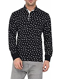 Vivid Bharti Men's Cotton Printed Full Sleeve T-shirt (Navy, Medium)