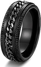 High Quality Moneekar Jewels Stainless Steel 8mm Rings for Men Chain Rings Biker Grooved Edge