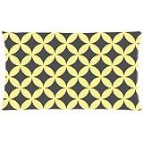 Funda de almohada de celosía–especial color amarillo y gris la superposición de círculos geométrico Seamless Patrón Rectángulo funda de almohada 20x 36(un lado fundas de almohada