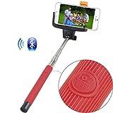 Selfie Stick (rot) Rivero drahtlose Bluetooth-Kamera-Fernauslöser Ausziehbare Universal Selbstporträt mit Hand Selfie-Stock für Asus ZenFone 3 Vergrößern