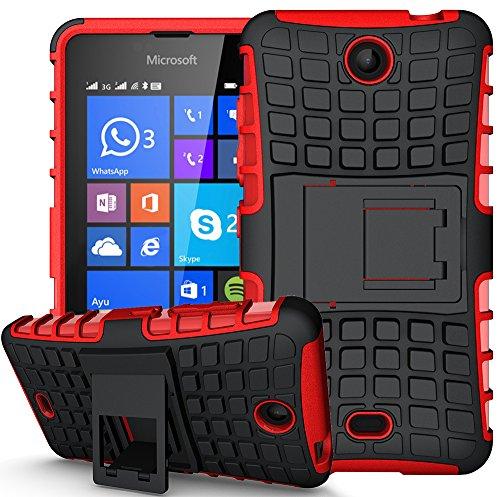 Nnopbeclik 2in1 Dual Layer Coque Microsoft Lumia 430 Silicone [New] [Armor Séries] Protectrice Fine Et Élégante Rigide Back Cover Incassable case pour Microsoft Lumia 430 Coque antichoc (4.0 Pouce) [Ridige] Protection Hybride en Mélange avec Béquille de Support Intégrée Housse Antiglisse Anti-Scratch Etui - [Rouge]