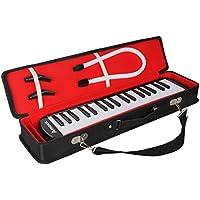 Amosic melódica Teclado de 37 teclas estilo piano para regalo de música para niños, adecuado para la enseñanza y el juego, con 4 boquillas (2 Extend + 2 corto) y base de cobre