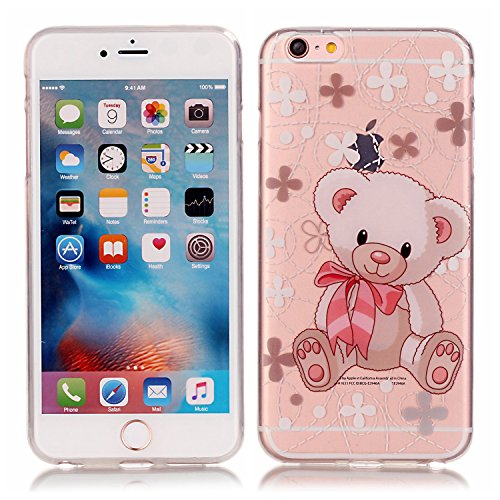 Qiaogle Téléphone Coque - Soft TPU Silicone Housse Coque Etui Case Cover pour Apple iPhone 5 / 5G / 5S / 5SE (4.0 Pouce) - XS04 / Cute pink bear XS04 / Cute pink bear