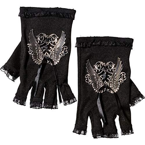 Attraktive Gothic-Handschuhe ohne Finger mit Spitze / Schwarz-Silber / Schickes Steampunk Kostüm-Accessoire für Frauen geeignet zu Karneval & Fastnacht