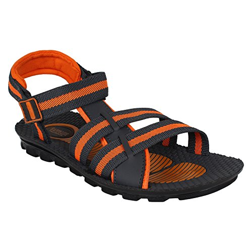 World Wear Footwear Men's Canvas Grey/Orange Sandals & Floaters-10  available at amazon for Rs.198