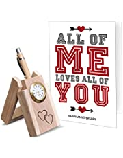 TIED RIBBONS Wooden Penstand and Greeting Card for Husband | Marriage for Men for Wife for Couple