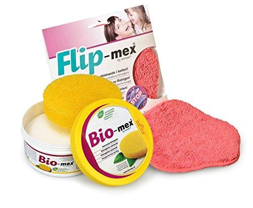 Kit Bio-Mex + Panno Flip-Mex. Detergente Solido Universale 300 gr. Naturale e biodegradabile (1 Spugna Inclusa). Flip-Mex Panno Spugna in Microfibra con Tecnologia Antibatterica Nano-Argento