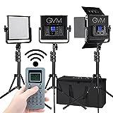 GVM LED-Videoleuchte 672S Lights CRI97 TLCI97 22000lux Dimmable Bi-Farbe Lighting 3200K-5600K Licht mit Digitalanzeige und Light Stand 3 Kit für Outdoor-Interview Video Fotografie (672S-B3L)