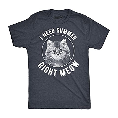 Crazy Dog TShirts - Mens I Need Summer Right Meow Funny Summertime Kitten Cat T shirt (Dark Grey) XXL - Homme
