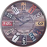Alice's Collection - Large Vintage Round Wooden Wall Clock From MDF – Diameter 60cm