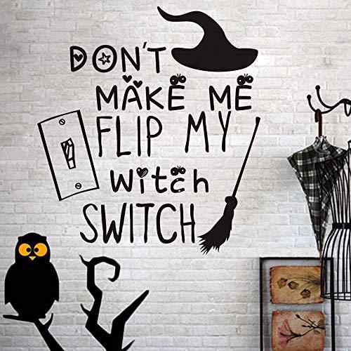 Machen Sie Mich Nicht Meine Hexe Schalter Besenstiel Wandaufkleber für Kinderzimmer Wand Dekor Festival Party Halloween Dekoration Zubehör 54x59cm