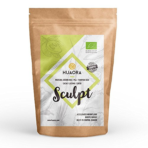 Huaora Sculpt - Proteína de arroz integral, proteína de guisante y proteína de semilla de calabaza | Proteínas Vegetales Orgánicas en Polvo | Sin Gluten y apto para Veganos