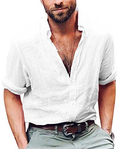 Minetom shallgood camicia uomo coreana manica lunga tg. m, l, xl, xxl e 3xl primavera/estate 2018 a bianco 2x-large