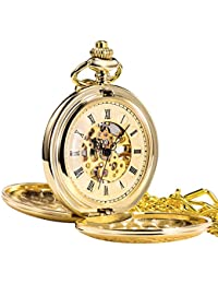 Tree Weto Retro Golden Mechanical Pocket Watch Polished Double Open Skull Gold Roman Dial Pocket Watches with Chain and Gift Box