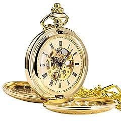 Idea Regalo - Treeweto - Orologio da taschino meccanico dorato in stile antico, con ingranaggi a vista e quadrante con numeri romani, corredato di catena per appenderlo