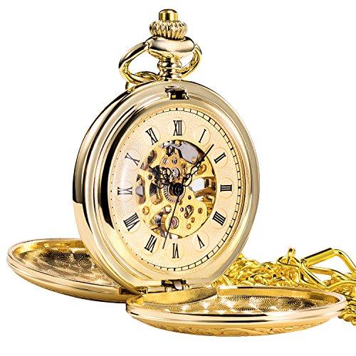 TREEWETO Retro Golden Mechanische Taschenuhr glänzend doppelt öffnen Design Skelett goldene Römische Ziffern Taschenuhren mit kette und Geschenkbox