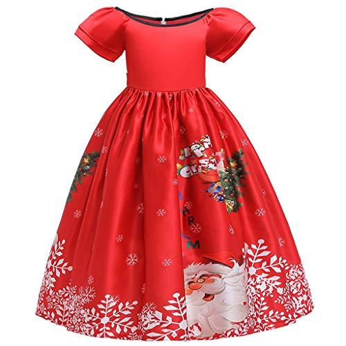 SANFASHION Weihnachtskleider Für Kinder Frauen Stripe Print Slim Fit Weihnachten Kurzarm Swing Kleid Rockabilly Santa Claus Hohe Taille Cosplay Ballkleid Abendkleid