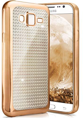 ONEFLOW Samsung Galaxy J5 (2015) | Hülle Glitzer Gold Silikon Shiny Back-Cover Silikonhülle Glitter Schutzhülle Ultra-Slim Case für Samsung Galaxy J5 2015 Handy-Hülle Dünn Tasche
