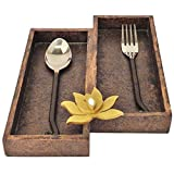 2-Section Wooden Brown Cutlery Tray with...