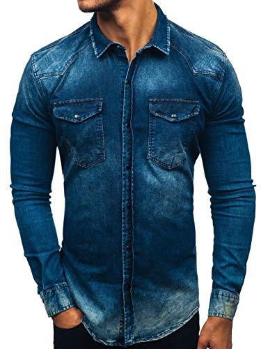 BOLF Hombre Camisa Vaquera Ajustada de Manga Larga Denim Slim Fit Otantik 2063 Azul Oscuro S [2B2]